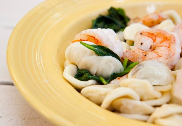 Orecchiette with Spinach, Shrimp and Garlic Chips, Think Food Recipes for Brain Fitness (Jason Whalen)