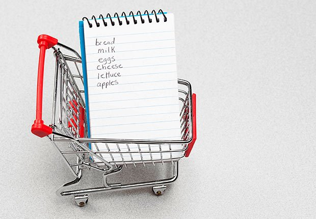 Grocery list in shopping cart, Remember grocery list