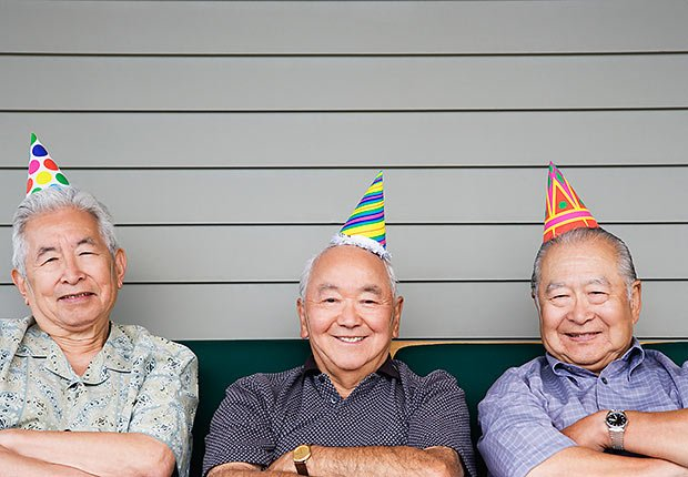 Three older men with birthday hats, Remembering birthdays