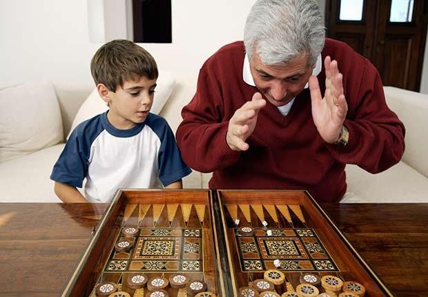 Keep Playing Childhood Games Grandfather Grandson Playing ESP
