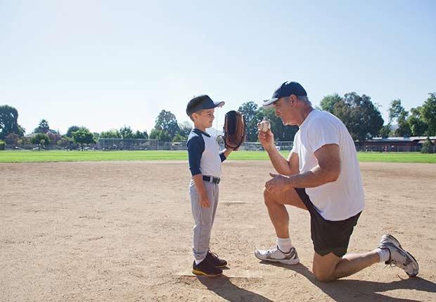 Keep Playing Childhood Games Grandfather Grandson Baseball Field ESP