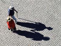 Two people walking