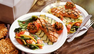 Healthy salmon meal on plate, Brain Health, Eat Healthy