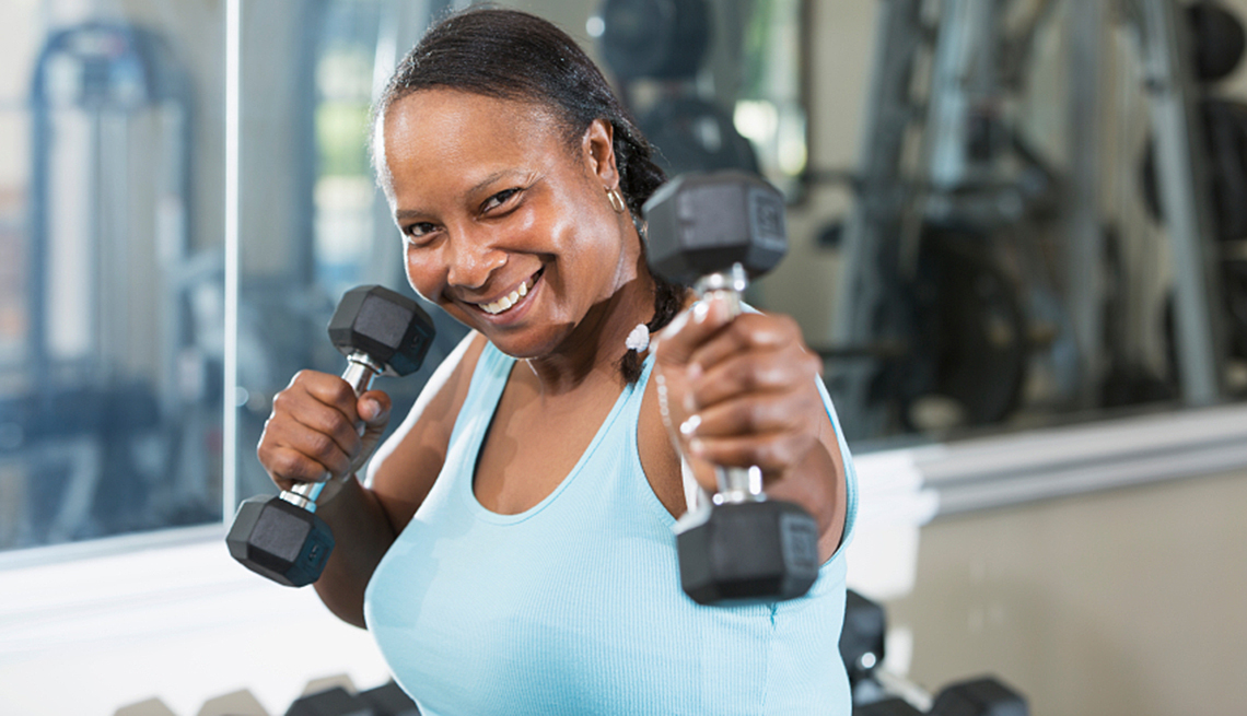 Mature woman at the gym, exercise helps brain health