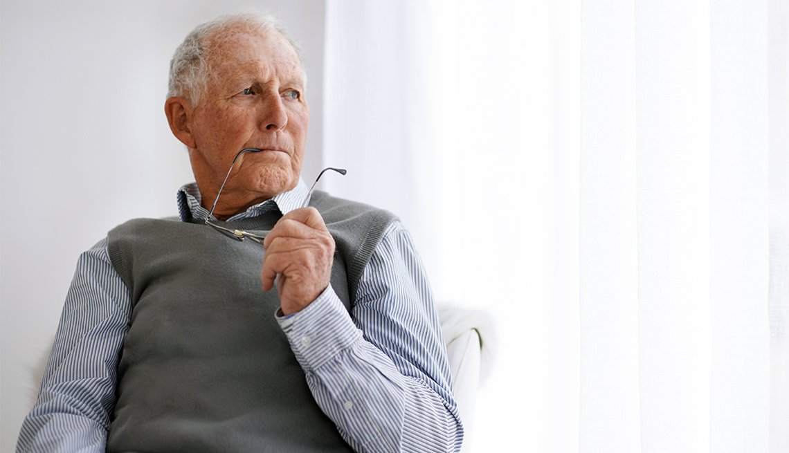 Cropped shot of an elderly man in a pensive mood