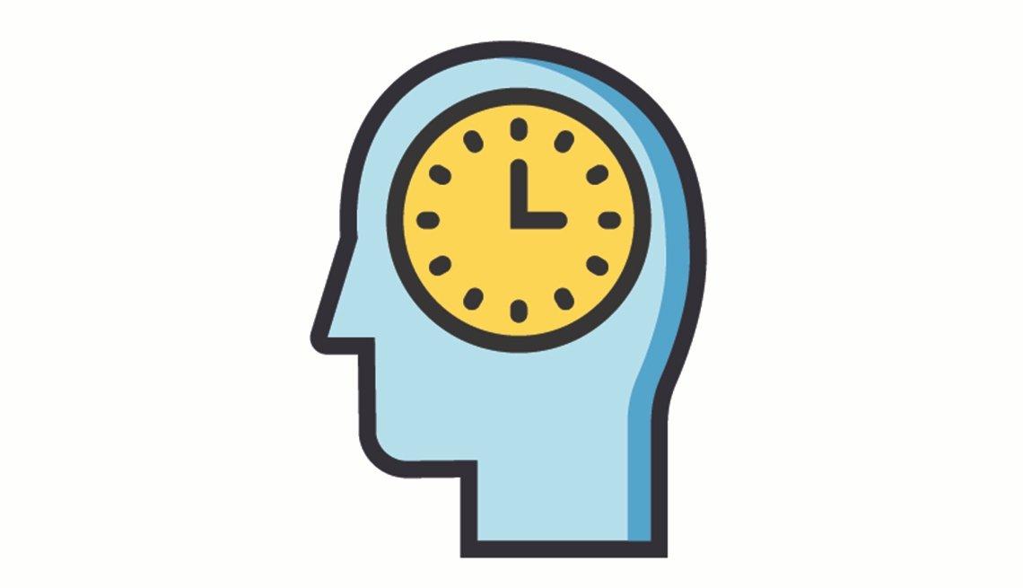 Ilustración de un reloj dentro de una silueta de una persona