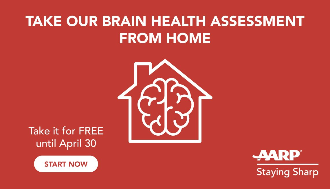 staying sharp ad that says take our brain health assessment from home for free until april thirtieth
