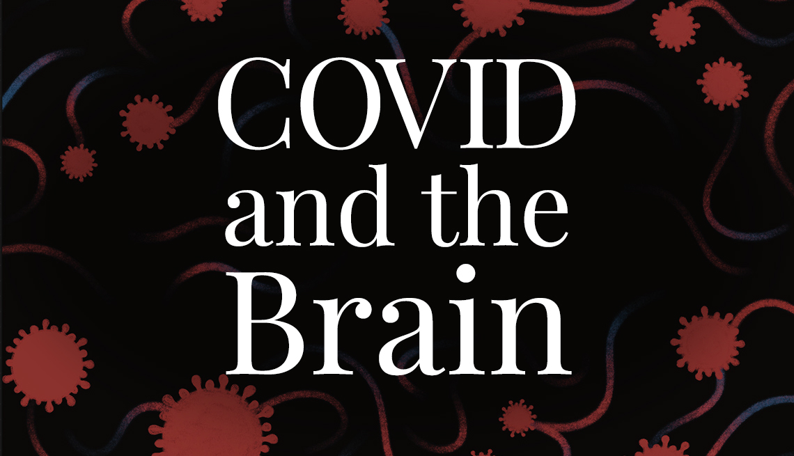 covid and the brain text over illustration of covid cells and neurons