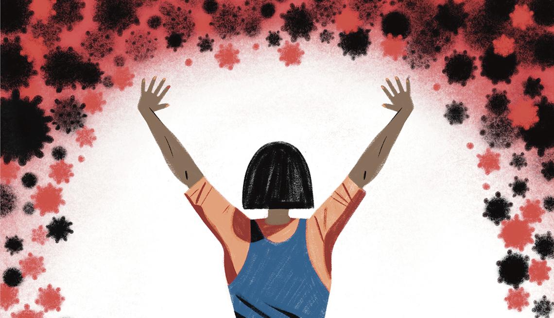 Ilustración de una persona que levanta los brazos para alejar la COVID