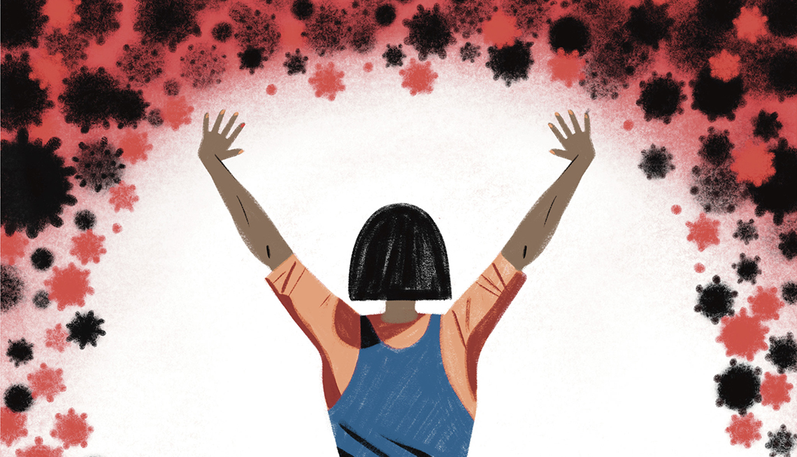 illustration of a person holding up their arms to banish away covid cells