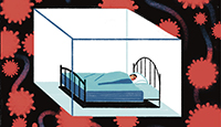 Ilustración de una persona en la cama durmiendo en un cubo protegido contra el coronavirus