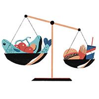 Ilustración de una balanza que muestra que una cantidad menor de comida chatarra pesa más que una mayor cantidad de comida saludable