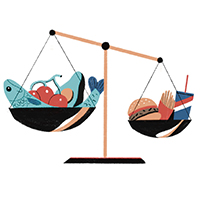 illustration of a scale showing that a smaller amount of junk food outweighs a larger amount of healthy food