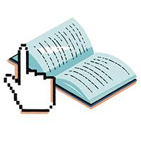 Ilustración de un cursor de mano apuntando hacia un libro