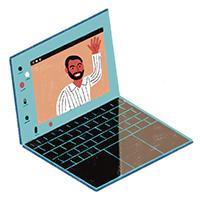 Ilustración de una computadora portátil que muestra un chat de video