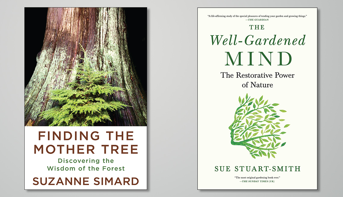 two book covers. one titled finding the mother tree discovering the wisdom of the forest and other titled the well gardened mind the restorative power of nature