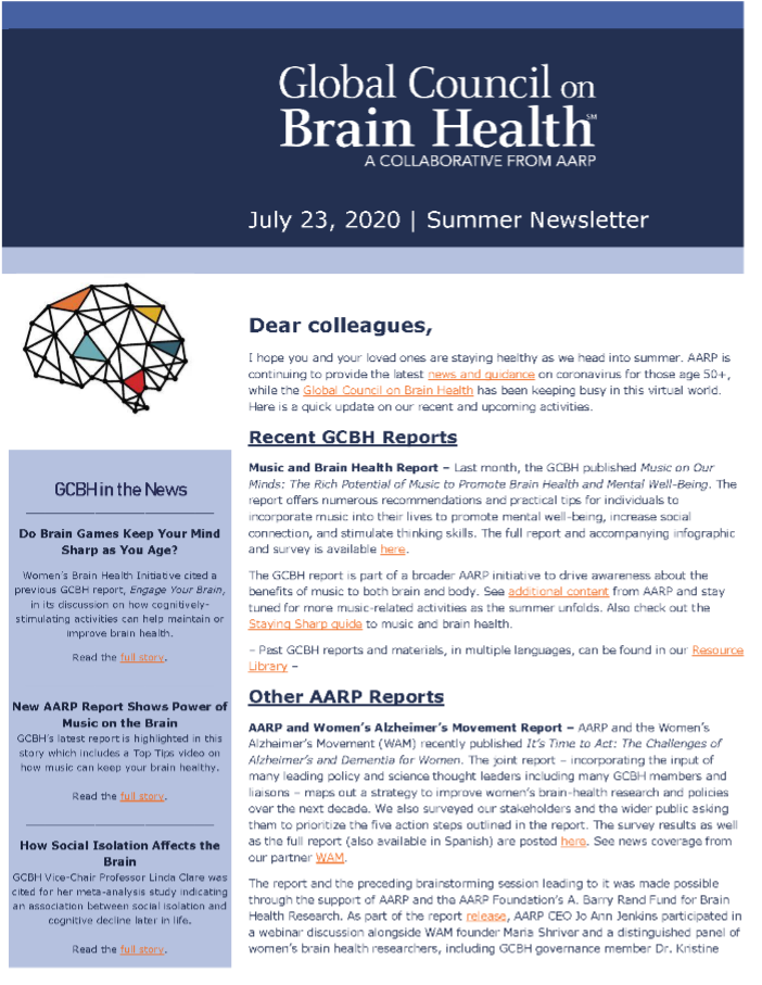 Global Council on Brain Health Newsletter Image
