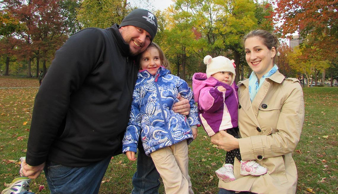 The Popoloski family, outdoors, autumn leaves, military caregiver