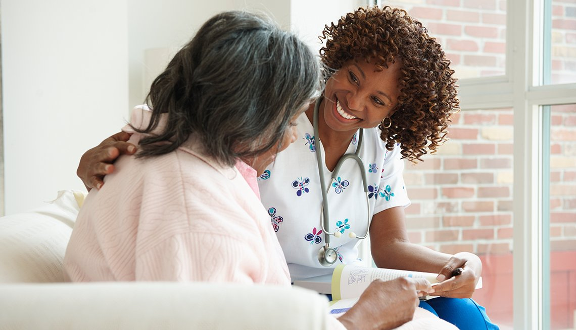 Patient with health-care professional, palliative care