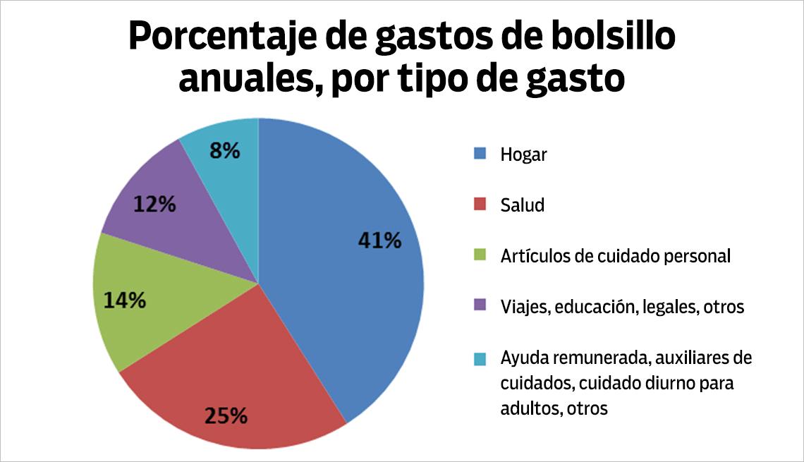 Porcentaje de gastos anuale por tipo de gasto - El costo de cuidar de un ser querido
