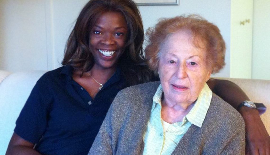The author's mother, right, and her home health aide, Mary.