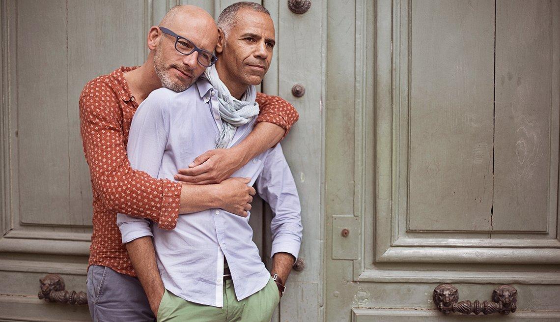a mature gay couple hug