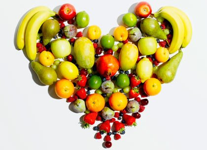 heart made of fruits