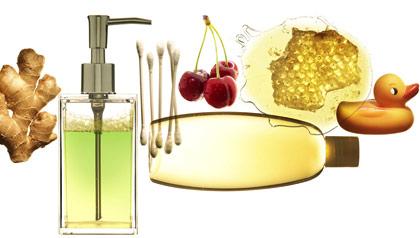 Arrangement of ginger, Q tips, liquid hand soap, cherries, honey and baby shampoo. Home remedies.