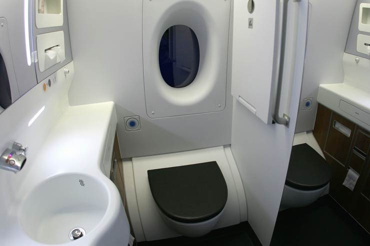 Restroom toilet in an airplane