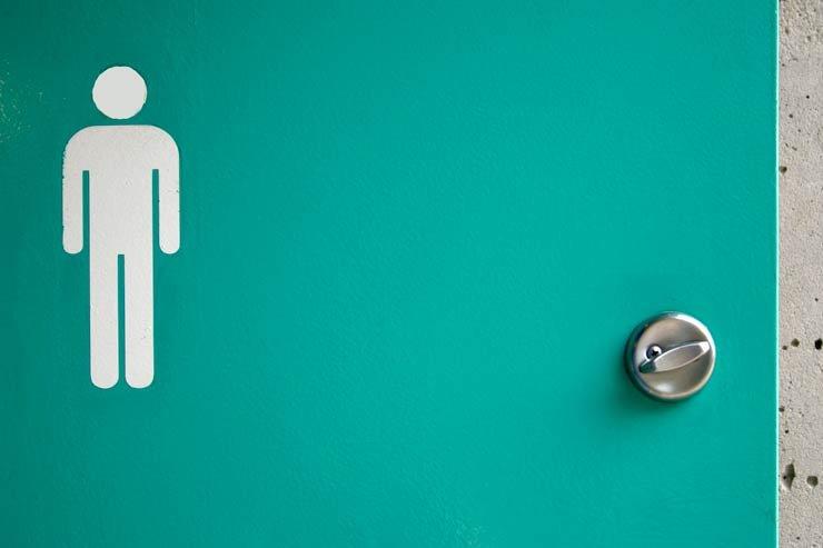 Men's room door