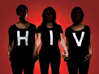 HIV/AIDS and Older Hispanics. Three Hispanic women wearing black shirts that read HIV
