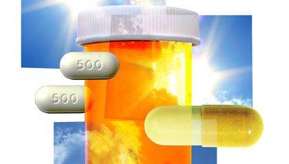 Ilustración mostrando la interacción del sol y los medicamentos