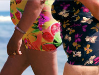 Overweight women mid-sections on the beach-Overweight can increase hormones linked to breast cancer