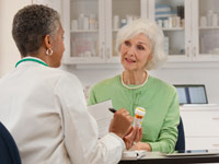 Doctor explaining medication to female patient.