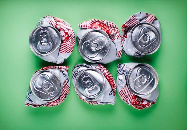 Crushed soda cans