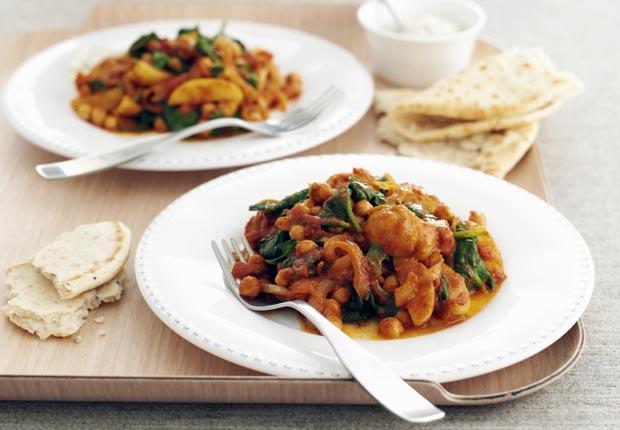 Patata al curry con espinacas - 7 formas de prevenir la artritis