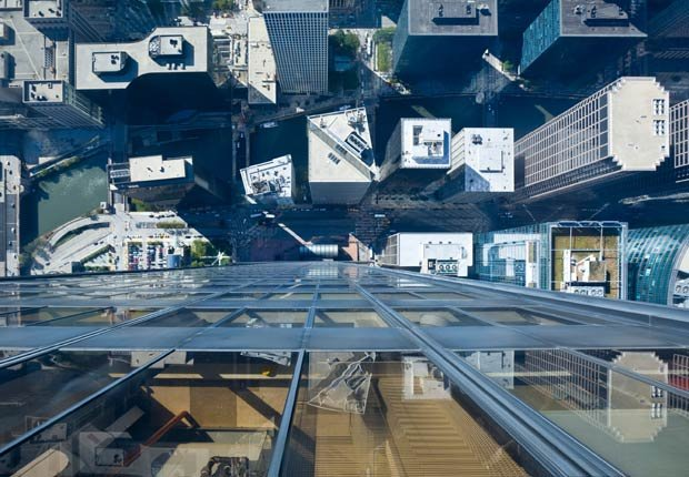 Looking down on Chicago rooftops