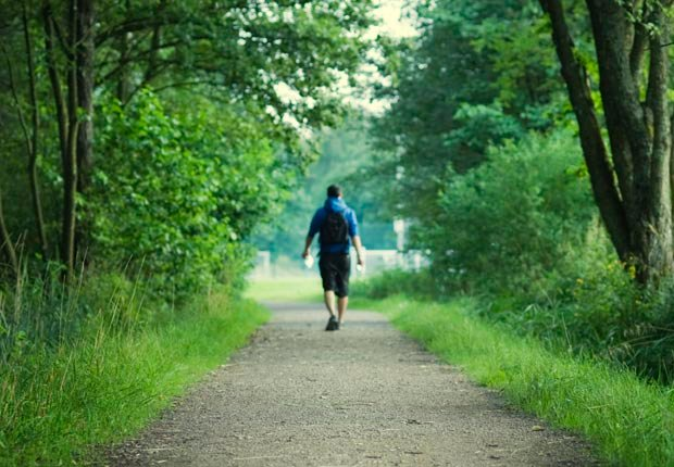 Man walking on path in woods