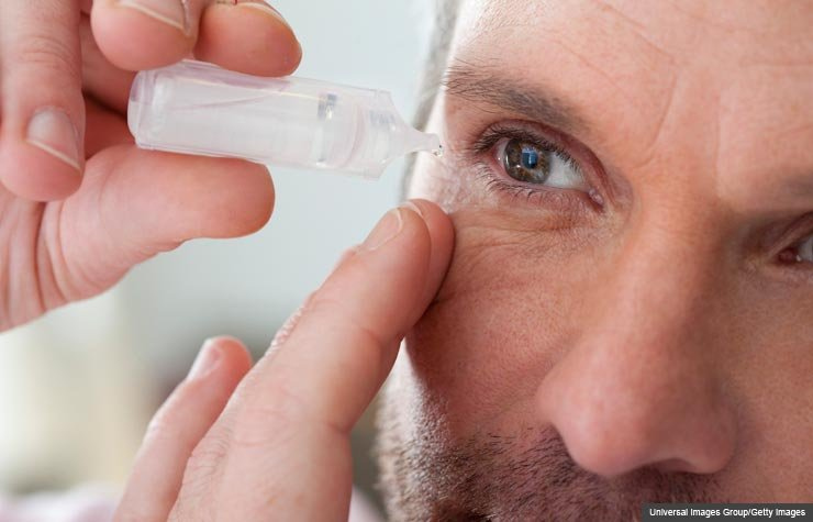 Mature man applying eye drops into eye, Three Eye Diseases of Aging
