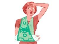 Ilustración de una mujer con  actitud de sorpresa - Como se calcula los costos de la sala de emergencia