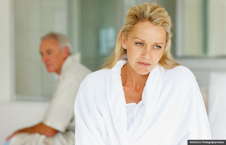 A mature couple with worried woman, Pink Viagra, Post-menopausal health (INSADCO Photography/Alamy)