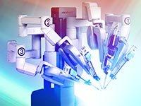 Imagen de un robot visto del lado - Beneficios y riesgos de la cirugía robótica