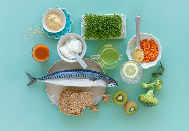 Still Life of a Balanced Diet. 6 Ways to Prevent Diabetes.