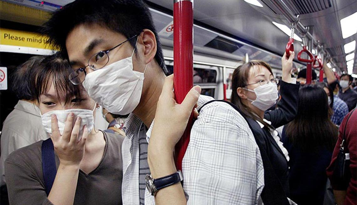 People wear masks, Hong Kong's Mass Transit Railway, SARS, Plagues and Epidemics Through the Ages,