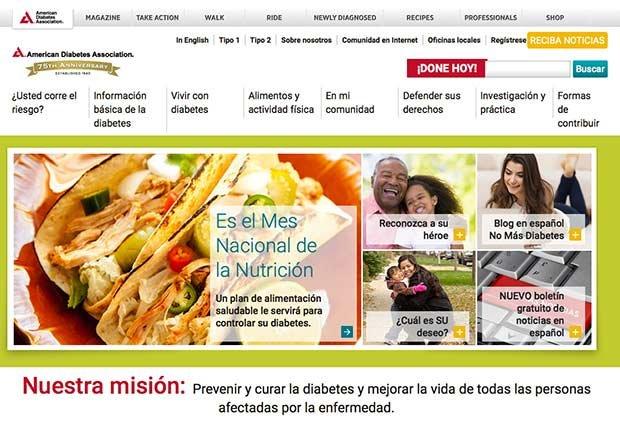 Foto de un website de salud - Diabetes tipo 1 en niños