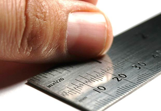 Dedo y regla de medir