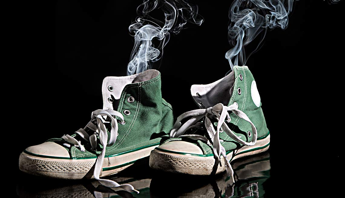 Smoke rising from basketball shoes, Yuck Factor Facts Fix Act Now Stinky Feet