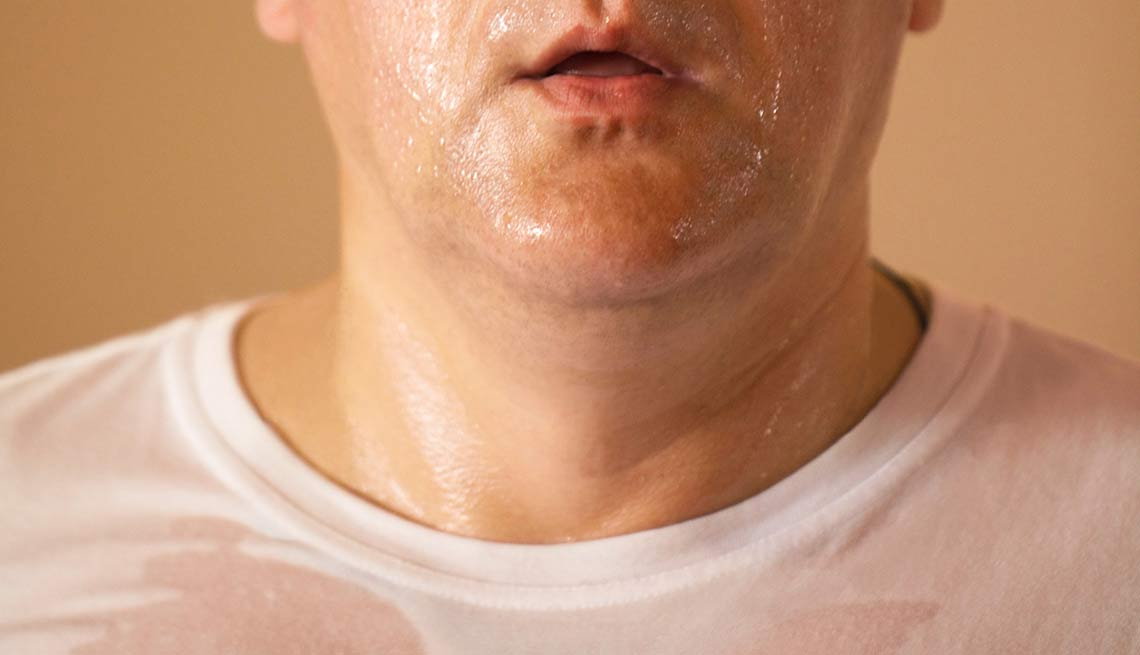 A man sweats excessively, Yuck Factor Facts Fix Act Now Sweaty