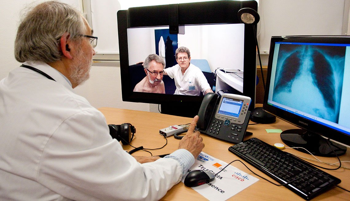 Doctor speaking with a patient through a video call