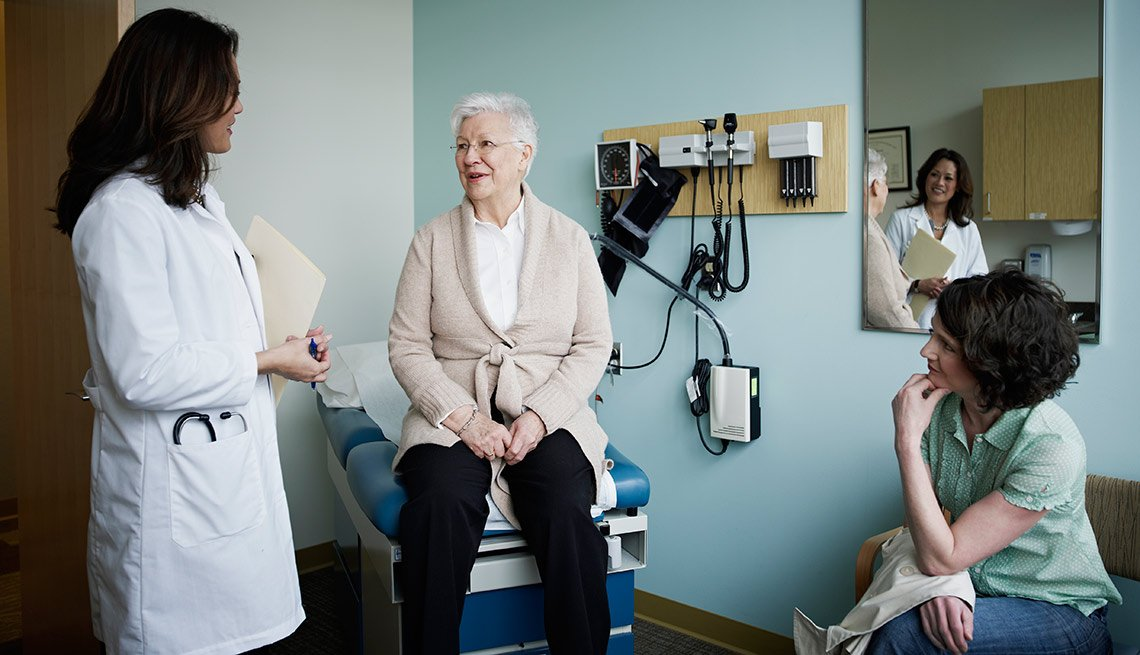 Mature female patient in exam room with doctor